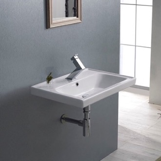 Rectangular White Ceramic Wall Mounted or Drop In Sink CeraStyle 030900-U