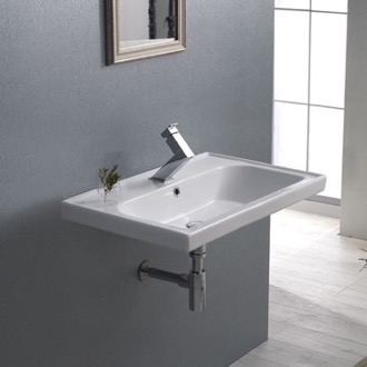 Bathroom Sink Rectangle White Ceramic Wall Mounted or Self Rimming Sink 031000-U CeraStyle 031000-U