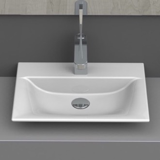 Bathroom Sink Rectangle White Ceramic Wall Mounted or Vessel Sink CeraStyle 031600-U