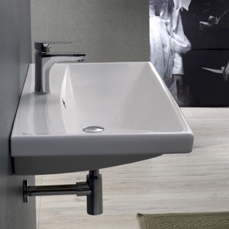 Bathroom Sink Rectangle White Ceramic Wall Mounted or Self Rimming Sink 032000-U CeraStyle 032000-U