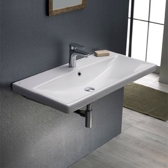 Rectangular White Ceramic Wall Mounted or Drop In Sink CeraStyle 032100-U