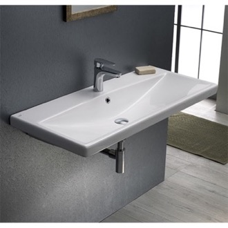 Bathroom Sink Rectangle White Ceramic Wall Mounted or Self Rimming Sink CeraStyle 032200-U