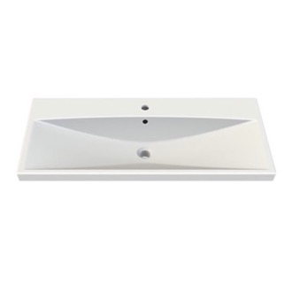 Bathroom Sink Rectangle White Ceramic Wall Mounted or Self Rimming Sink 032200-U CeraStyle 032200-U