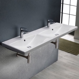 Rectangular Double White Ceramic Wall Mounted or Drop In Sink CeraStyle 032500-U