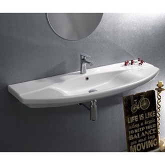Bathroom Sink Rectangle White Ceramic Wall Mounted or Self Rimming Sink CeraStyle 032700-U