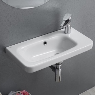 Bathroom Sink Rectangular White Ceramic Wall Mounted or Self Rimming Sink CeraStyle 033000-U