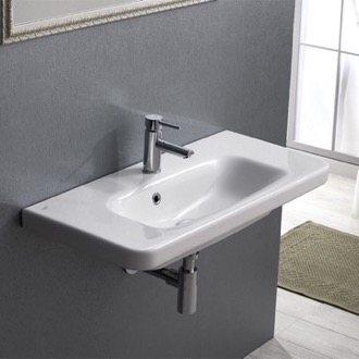 Bathroom Sink Rectangle White Ceramic Wall Mounted Sink or Self Rimming Sink CeraStyle 033300-U