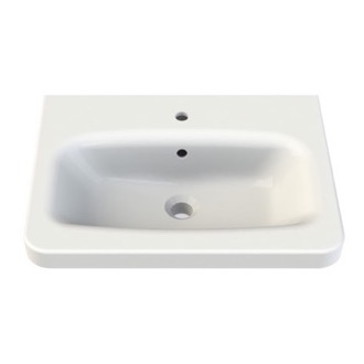 Bathroom Sink Rectangle White Ceramic Wall Mounted or Self Rimming Sink 033400-U CeraStyle 033400-U