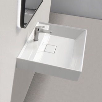 Square White Ceramic Wall Mounted or Drop In Sink CeraStyle 037000-U