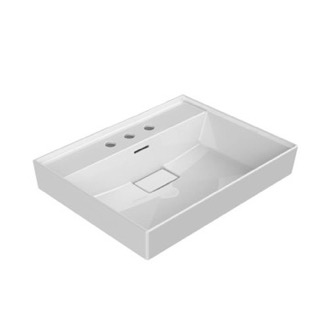 Rectangular White Ceramic Wall Mounted or Drop In Sink CeraStyle 037100-U-Three Hole