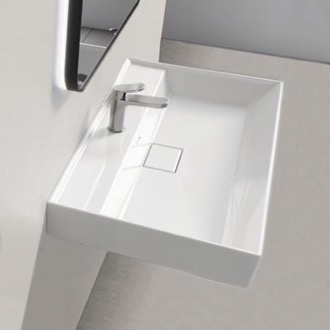 Rectangular White Ceramic Wall Mounted or Drop In Sink CeraStyle 037100-U