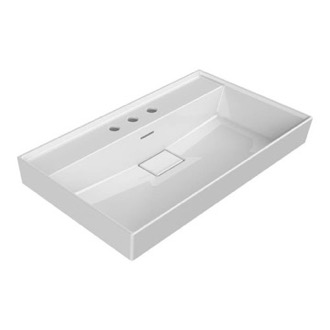 Rectangular White Ceramic Wall Mounted or Drop In Sink CeraStyle 037300-U-Three Hole