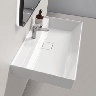 Rectangular White Ceramic Wall Mounted or Drop In Sink CeraStyle 037300-U