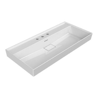 Rectangular White Ceramic Wall Mounted or Drop In Sink CeraStyle 037500-U-Three Hole