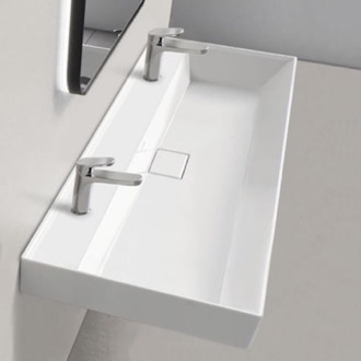 Trough Ceramic Wall Mounted or Drop In Sink CeraStyle 037600-U