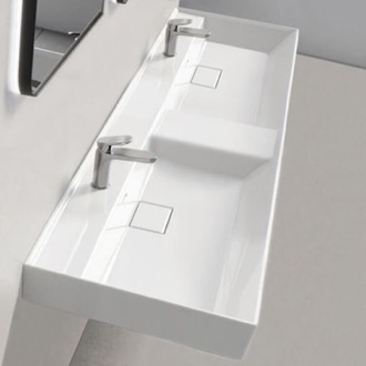 Double Ceramic Wall Mounted or Drop In Sink CeraStyle 037700-U
