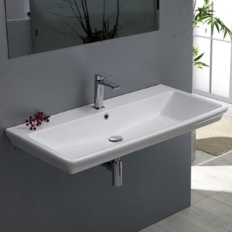 Bathroom Sink Rectangle White Ceramic Wall Mounted or Self Rimming Sink CeraStyle 040300-U
