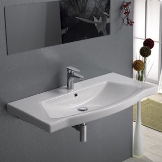Bathroom Sink Rectangle White Ceramic Wall Mounted or Self Rimming Sink CeraStyle 040500-U