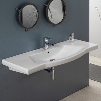 Bathroom Sink Rectangle White Ceramic Wall Mounted or Self Rimming Sink CeraStyle 040700-U