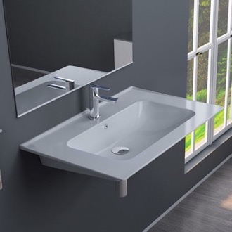 Rectangular White Ceramic Wall Mounted or Drop In Sink CeraStyle 042000-U