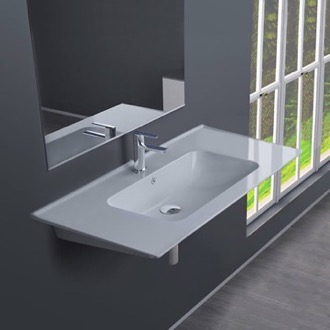 Rectangular White Ceramic Wall Mounted or Drop In Sink CeraStyle 042300-U