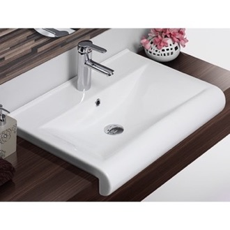 Rectangle White Ceramic Wall Mounted or Semi Recessed Sink CeraStyle 061500-U