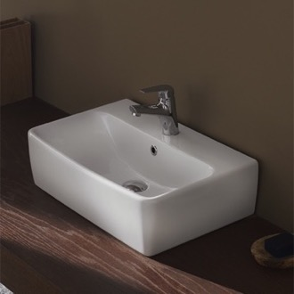 Bathroom Sink Square White Ceramic Wall Mounted or Vessel Bathroom Sink 061600-U CeraStyle 061600-U