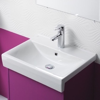 Bathroom Sink Rectangle White Ceramic Wall Mounted or Self Rimming Sink CeraStyle 063500-U