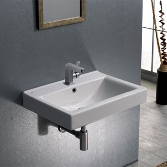 Bathroom Sink Rectangular White Ceramic Wall Mounted or Drop In Bathroom Sink CeraStyle 064200-U