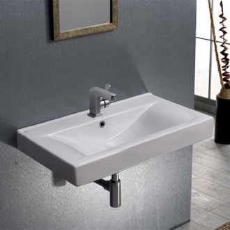 Bathroom Sink Rectangular White Ceramic Wall Mounted or Self-Rimming Sink CeraStyle 064400-U