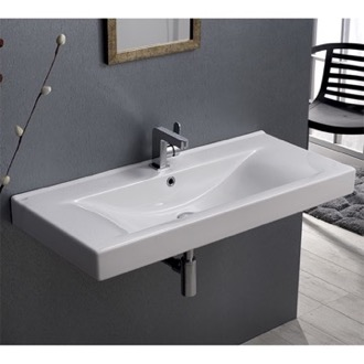 Bathroom Sink Rectangular White Ceramic Wall Mounted or Self-Rimming Sink CeraStyle 064600-U