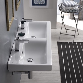 Bathroom Sink Rectangular Double White Ceramic Wall Mounted or Self-Rimming Sink CeraStyle 064700-U
