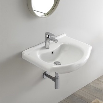 Rectangular White Ceramic Wall Mounted or Drop In Bathroom Sink CeraStyle 066000-U
