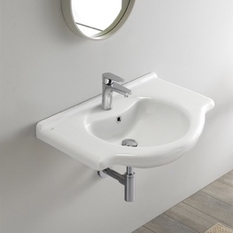 Rectangular White Ceramic Wall Mounted or Drop In Sink CeraStyle 066100-U