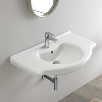 Rectangular White Ceramic Wall Mounted or Drop In Sink CeraStyle 066500-U