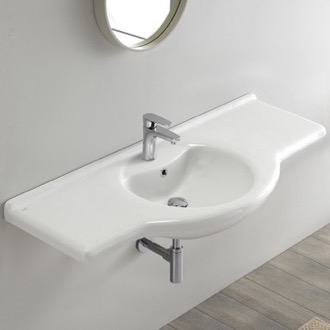 Rectangular White Ceramic Wall Mounted or Drop In Bathroom Sink CeraStyle 066700-U
