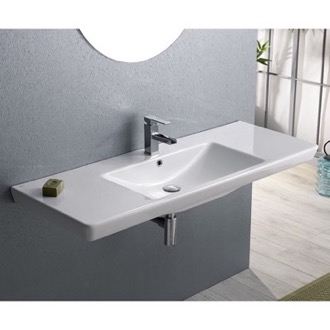 Bathroom Sink Rectangular White Ceramic Wall Mounted, Vessel, or Self-Rimming Bathroom Sink 068500-U CeraStyle 068500-U