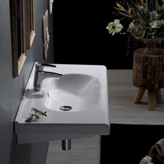 Bathroom Sink Rectangle White Ceramic Wall Mounted Sink or Self Rimming Sink CeraStyle 069100-U