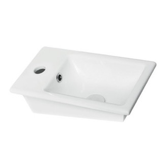 Bathroom Sink Rectangle White Ceramic Self Rimming Sink CeraStyle 071000-U