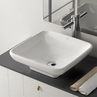 Square White Ceramic Vessel Sink CeraStyle 072800-U