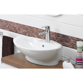 Oval White Ceramic Wall Mounted or Vessel Bathroom Sink CeraStyle 73000-U