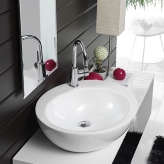 Round White Ceramic Vessel Sink CeraStyle 073500-U