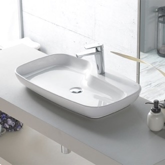 Rectangular White Ceramic Vessel Sink CeraStyle 074400-U