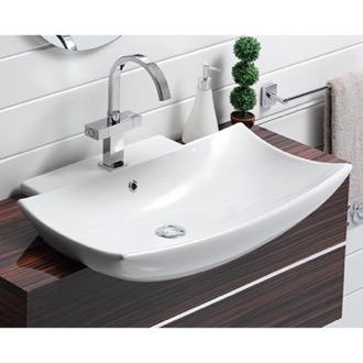 Semi Recessed Bathroom Sink. Bathroom Sink Curved Rectangular White Ceramic Wall Mounted Or Semi Recessed Sink Cerastyle 074800