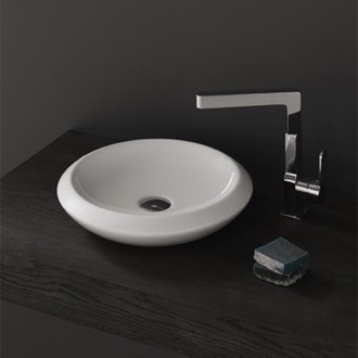 Round White Ceramic Vessel Sink CeraStyle 075100-U