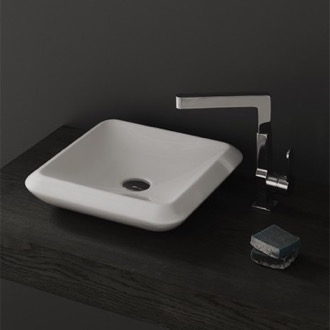 Square White Ceramic Vessel Sink CeraStyle 075300-U