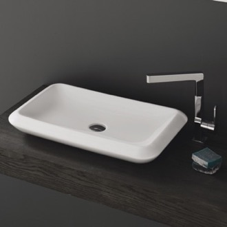 Rectangle White Ceramic Vessel Sink CeraStyle 075700-U