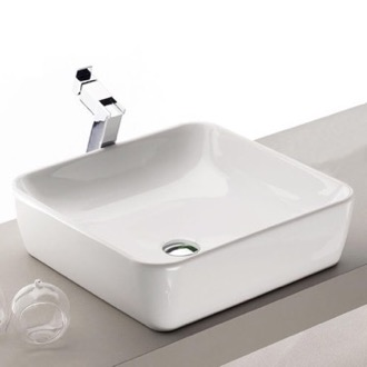 Square White Ceramic Vessel Sink CeraStyle 076000-U