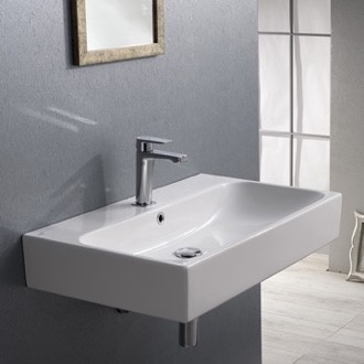 Rectangular White Ceramic Wall Mounted or Vessel Bathroom Sink CeraStyle 080000-U