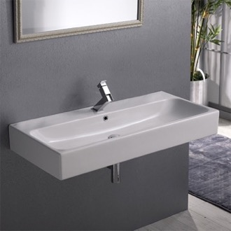 Bathroom Sink Rectangular White Ceramic Wall Mounted or Vessel Sink CeraStyle 080300-U